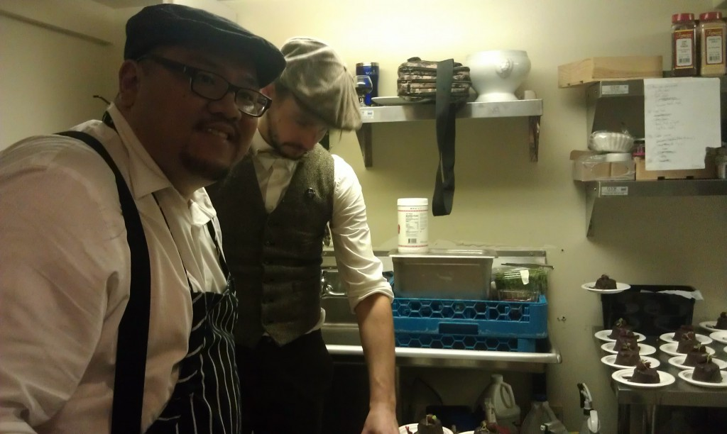 The Provisions staff preps for the Black Tuesday party.