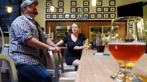 grant of urge gastropub and cambria griffith of the bruery in the tasting room