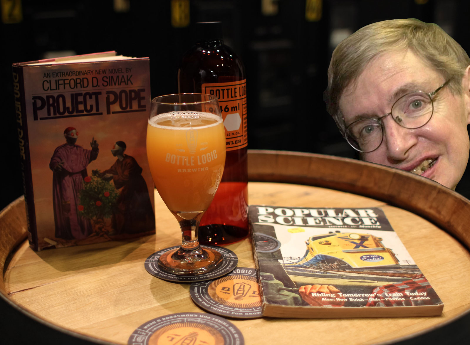 Can't believe Stephen Hawking photobombed a perfectly good beer pic